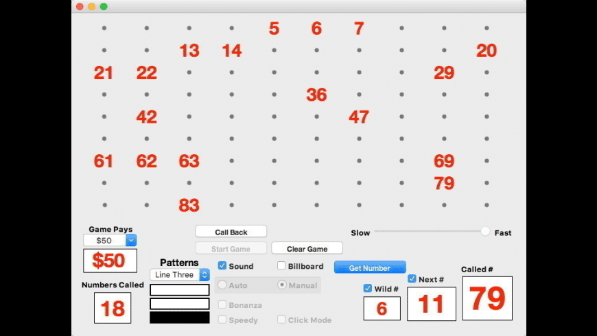 Bingo Caller Pro 90 for Mac - review, screenshots