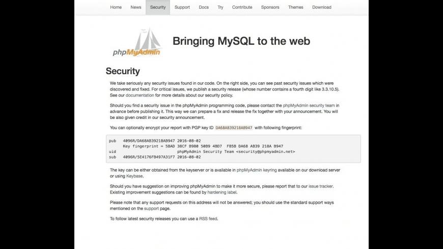 phpMyAdmin for Mac - review, screenshots