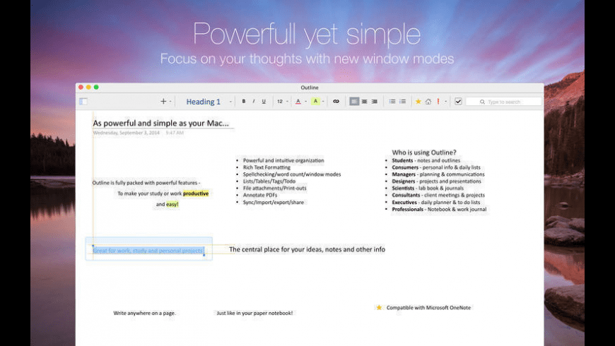 Outline for Mac - review, screenshots