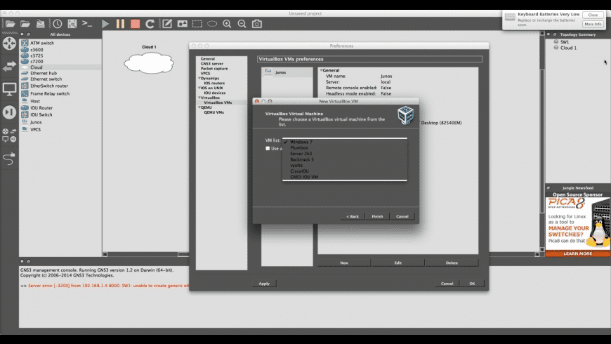 GNS3 for Mac - review, screenshots
