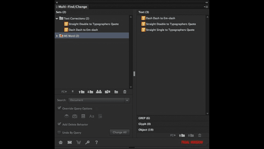 Multi-Find/Change for Mac - review, screenshots
