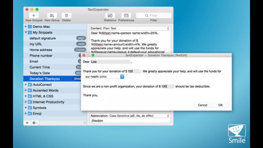TextExpander for Mac - review, screenshots