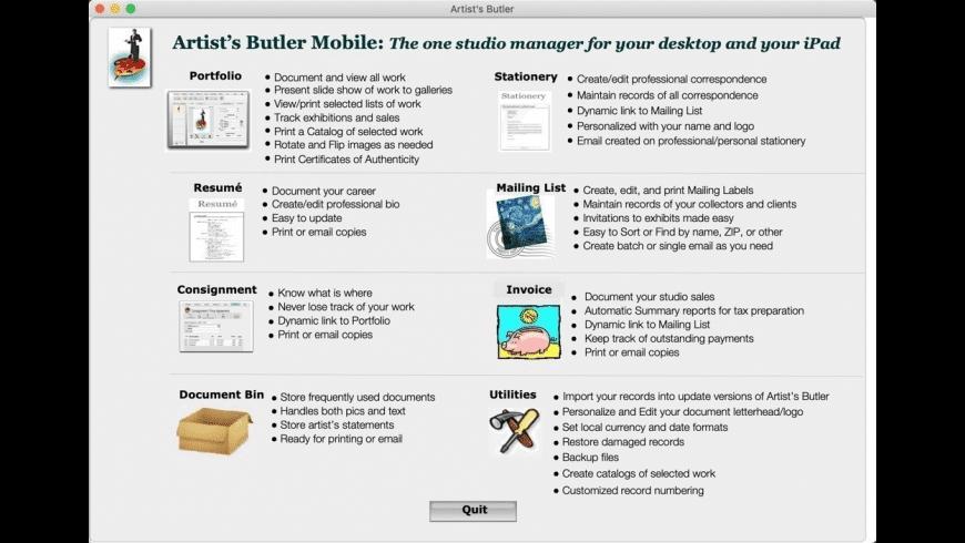 Artist's Butler Mobile for Mac - review, screenshots