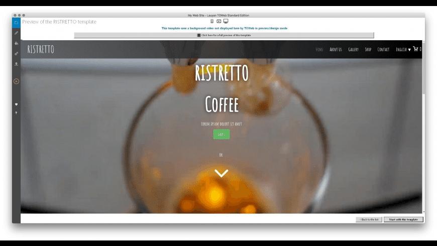 TOWeb for Mac - review, screenshots