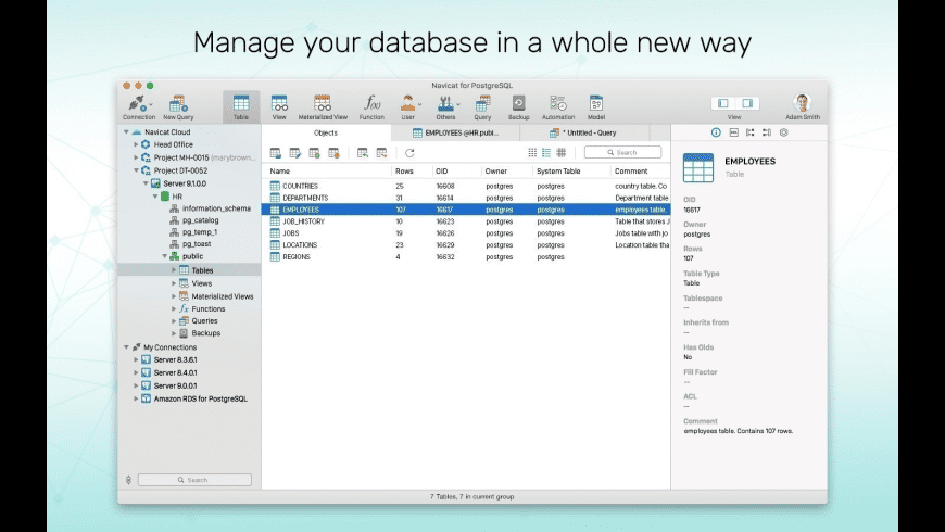 Navicat for PostgreSQL for Mac - review, screenshots
