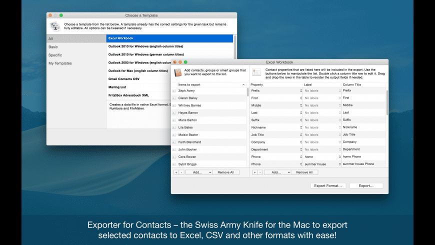 Exporter for Contacts for Mac - review, screenshots
