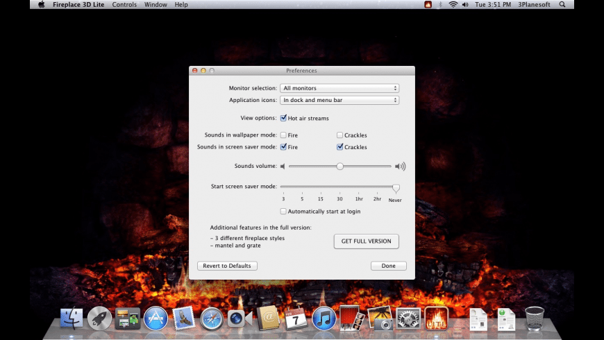 Fireplace 3D Lite for Mac - review, screenshots