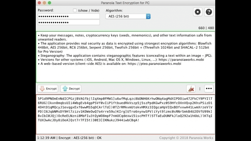 Paranoia Text Encryption for Mac - review, screenshots