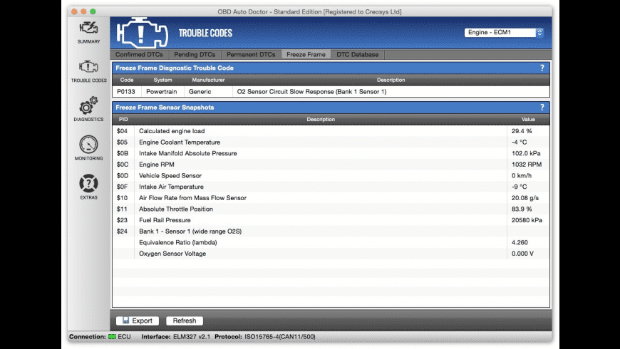 OBD Auto Doctor for Mac - review, screenshots