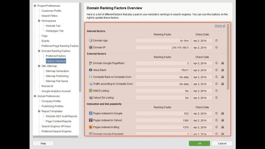 WebSite Auditor for Mac - review, screenshots