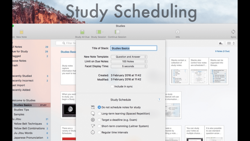 Studies for Mac - review, screenshots