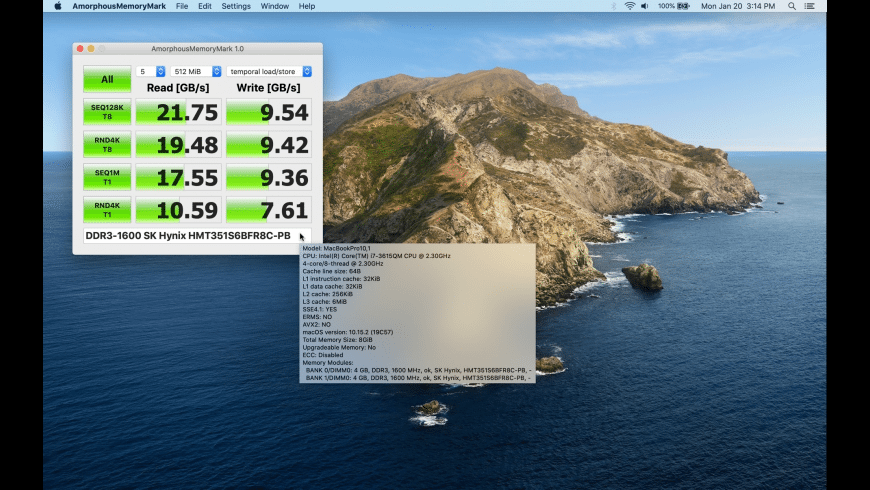 AmorphousMemoryMark for Mac - review, screenshots