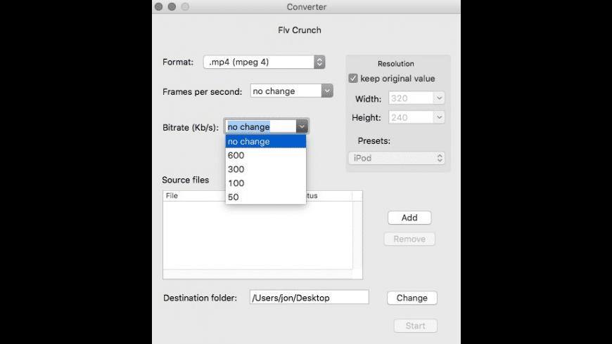 FLV Crunch for Mac - review, screenshots