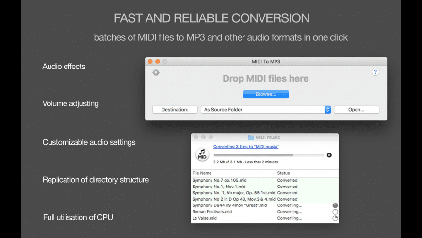 MIDI to MP3 for Mac - review, screenshots