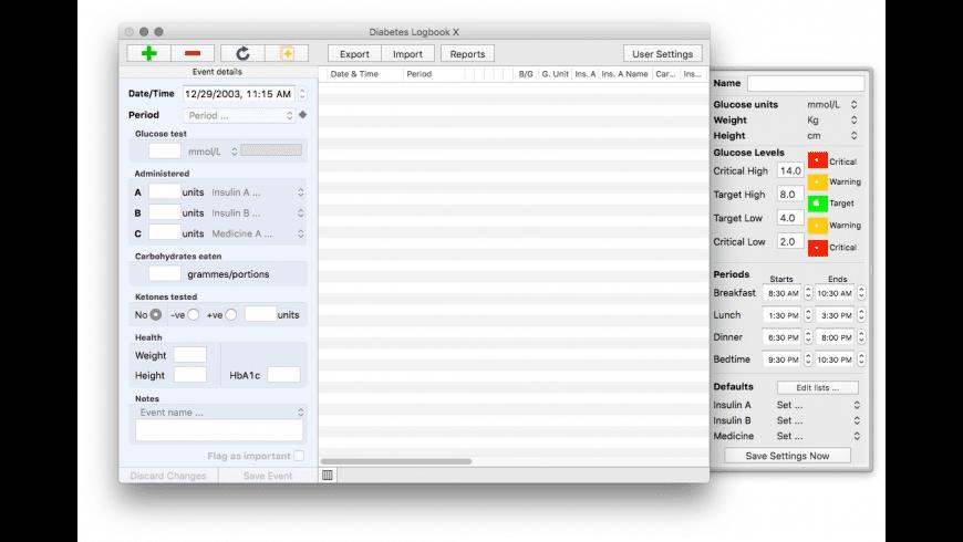 Diabetes Logbook X for Mac - review, screenshots
