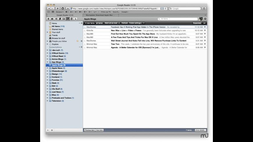 Google Reader Snow Leopard for Mac - review, screenshots