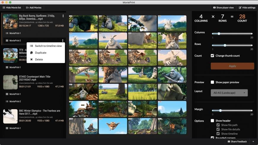MoviePrint for Mac - review, screenshots