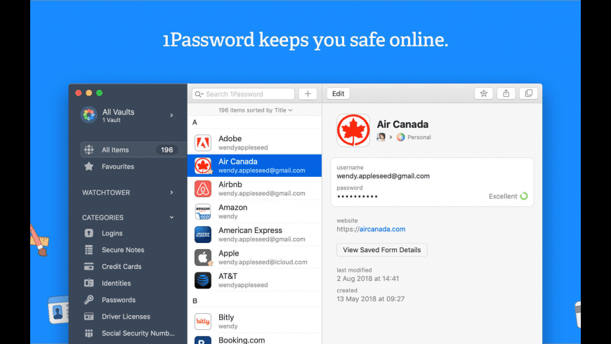 1Password for Mac - review, screenshots
