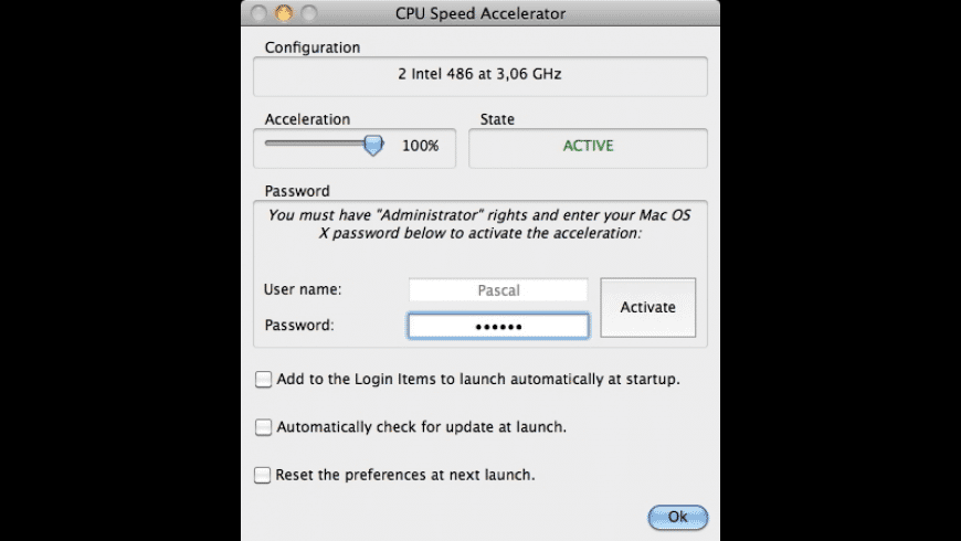 CPU Speed Accelerator for Mac - review, screenshots