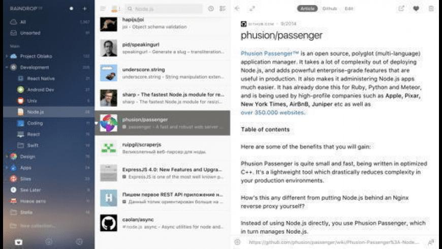 Raindrop for Mac - review, screenshots