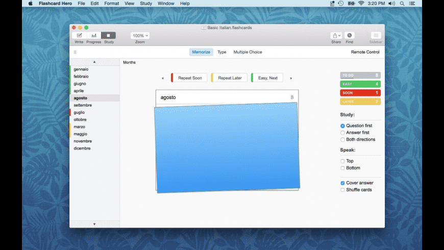 Flashcard Hero for Mac - review, screenshots