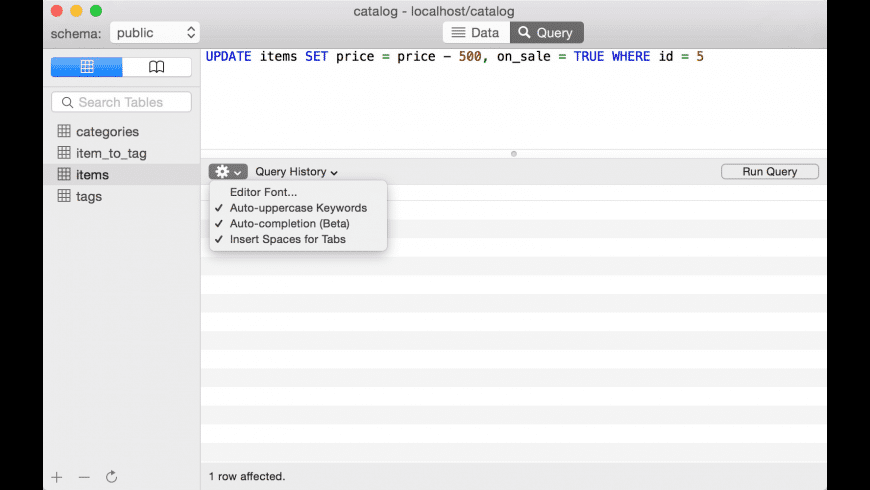 PostgreSQL for Mac - review, screenshots