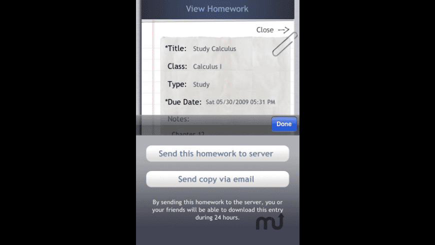 myHomework for Mac - review, screenshots