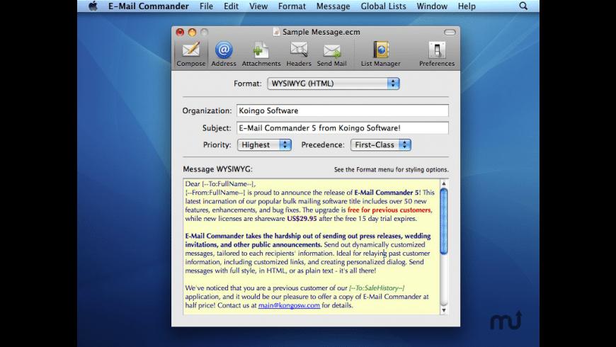 E-Mail Commander for Mac - review, screenshots