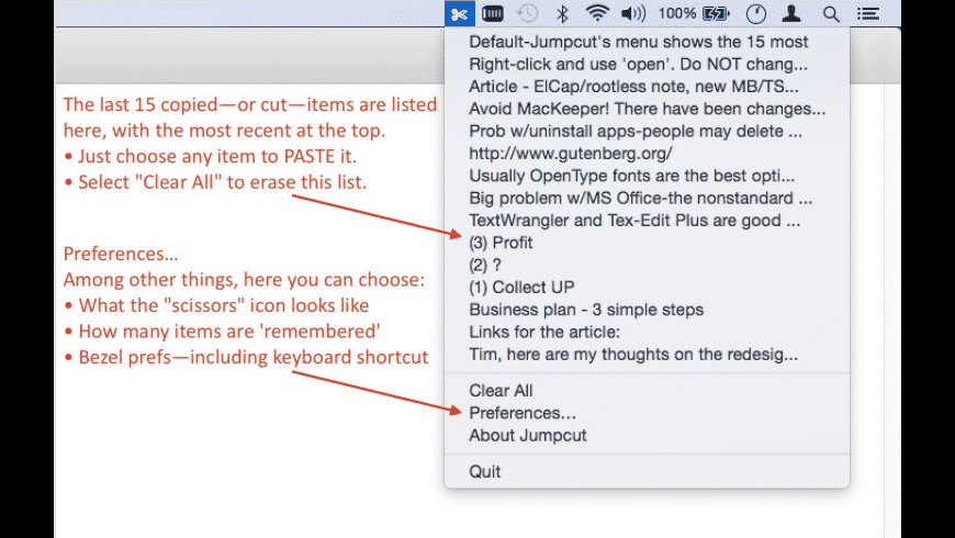 Jumpcut for Mac - review, screenshots