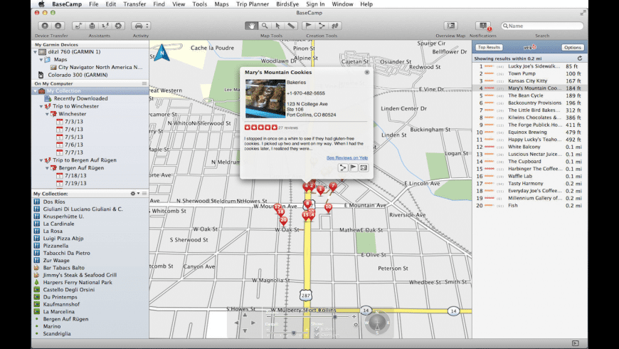 Garmin BaseCamp for Mac - review, screenshots