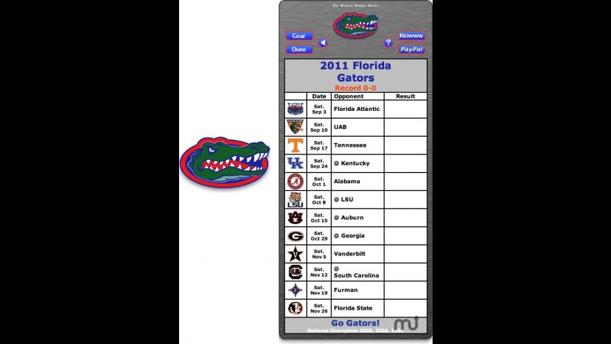 2011 Florida Gators Football Schedule Widget for Mac - review, screenshots