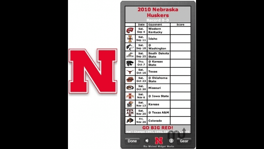 Nebraska Huskers Football Schedule Widget for Mac - review, screenshots