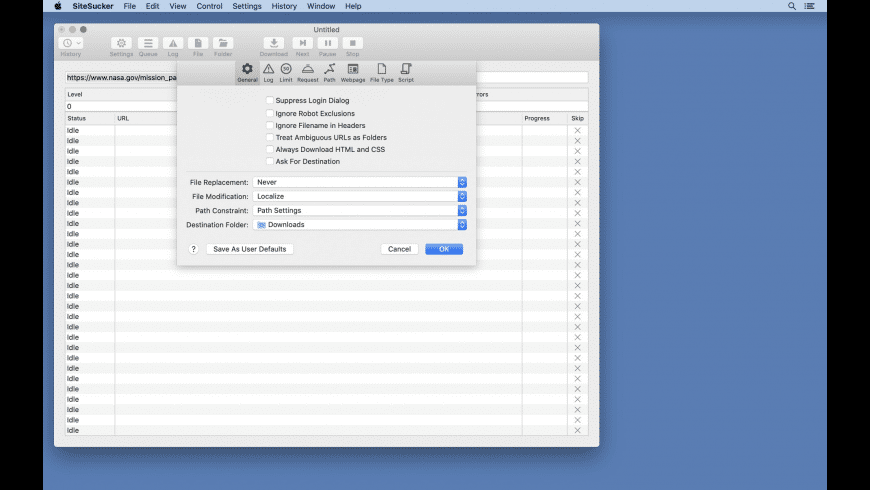 SiteSucker for Mac - review, screenshots