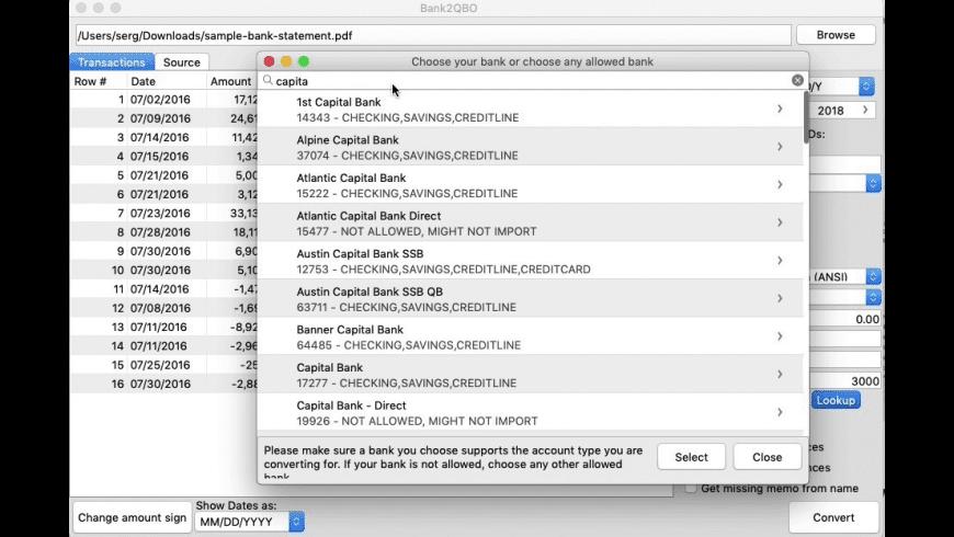 Bank2QBO for Mac - review, screenshots