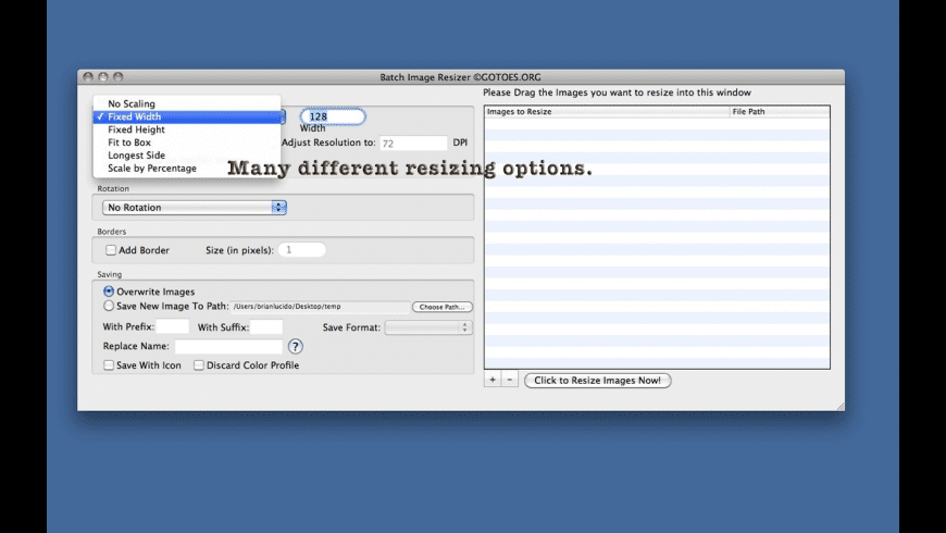 Batch Image Resizer for Mac - review, screenshots
