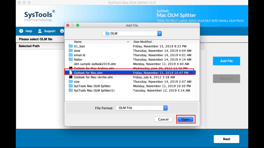 SysTools Mac OLM Splitter Tool for Mac - review, screenshots