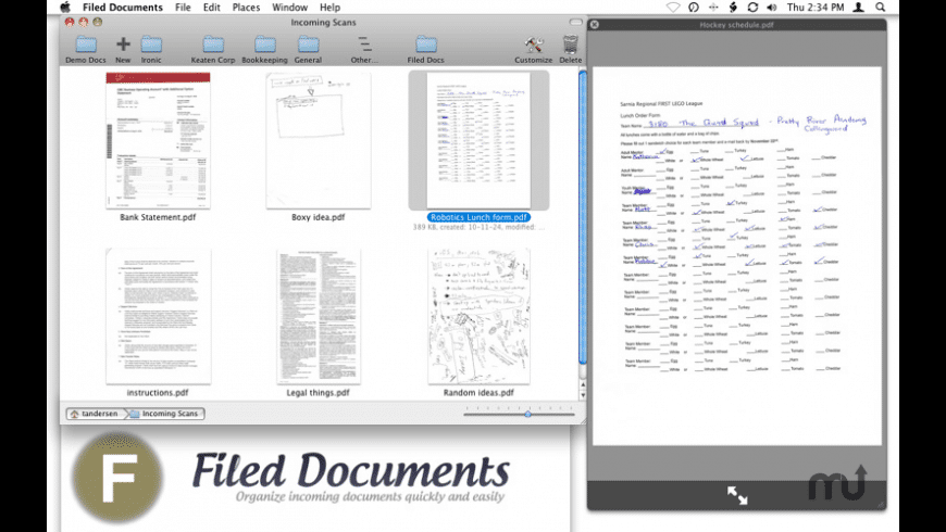 Filed Documents for Mac - review, screenshots