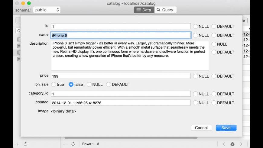 PostgreSQL for Mac - review, screenshots