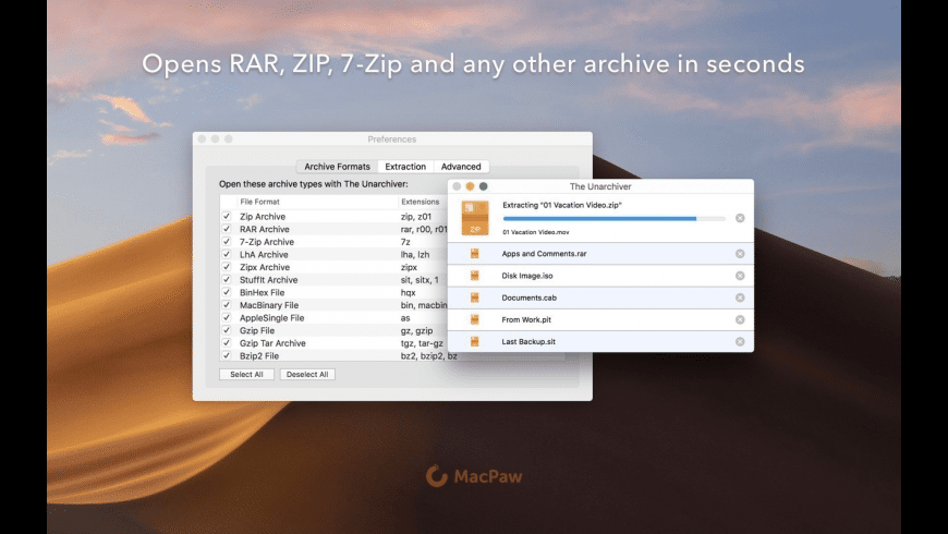 The Unarchiver for Mac - review, screenshots