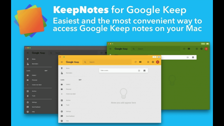 KeepNotes for Google Keep for Mac - review, screenshots