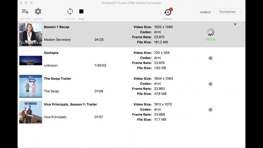 Ondesoft iTunes DRM Media Converter for Mac - review, screenshots