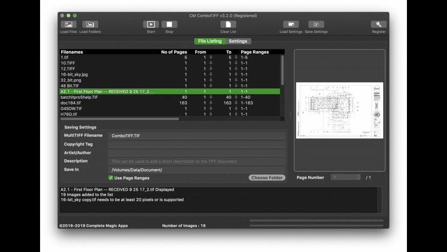 CM ComboTIFF for Mac - review, screenshots