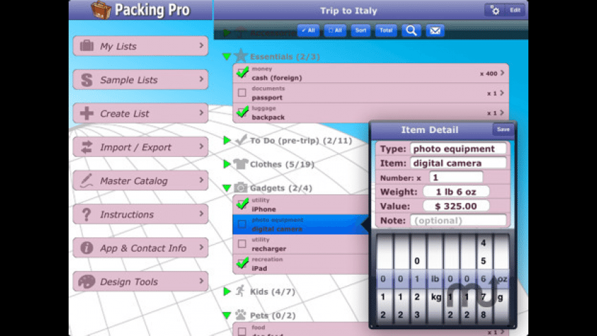 Packing Pro for Mac - review, screenshots