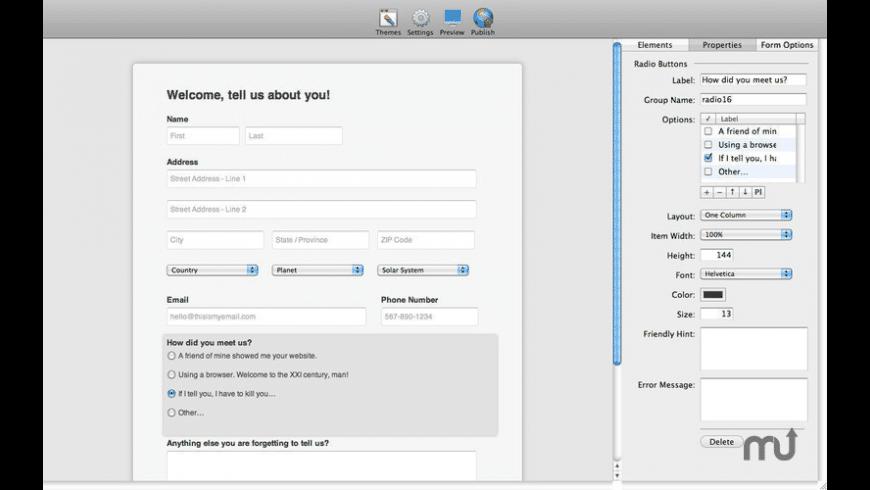 Web Form Builder for Mac - review, screenshots