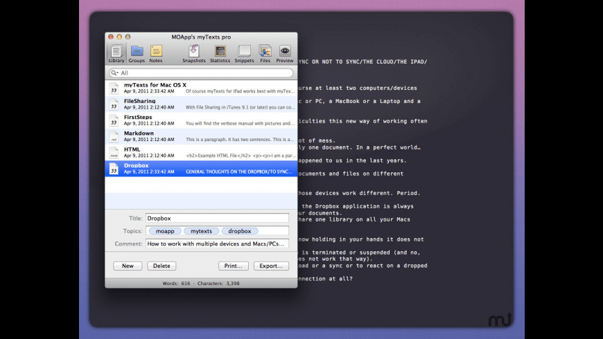 myTexts pro for Mac - review, screenshots