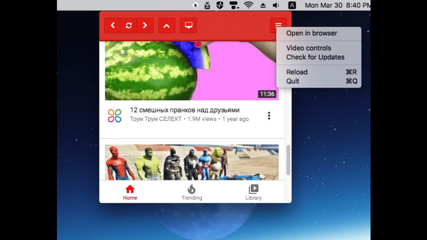MenuTube for Mac - review, screenshots