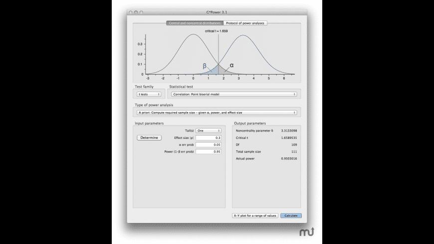 G*Power for Mac - review, screenshots