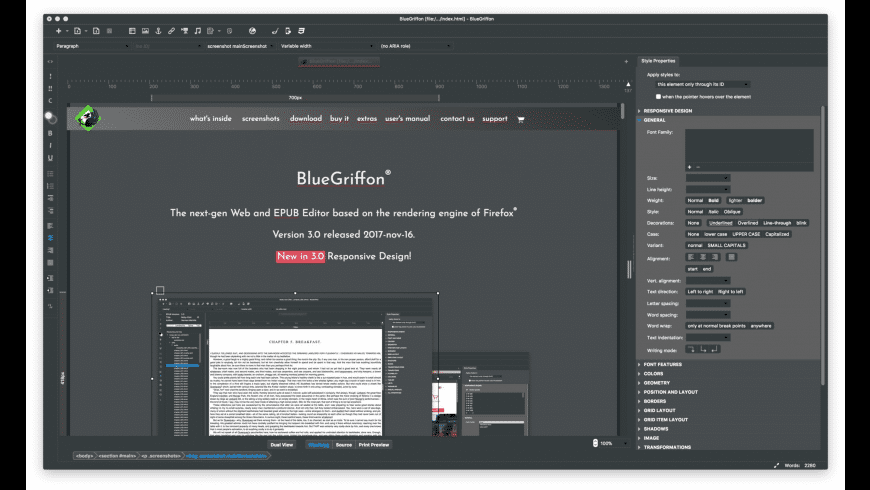 BlueGriffon for Mac - review, screenshots