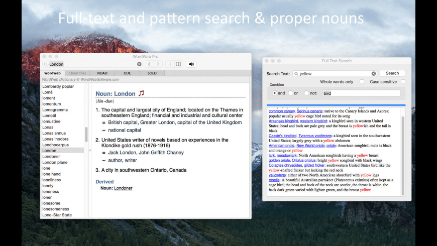 WordWeb Pro for Mac - review, screenshots