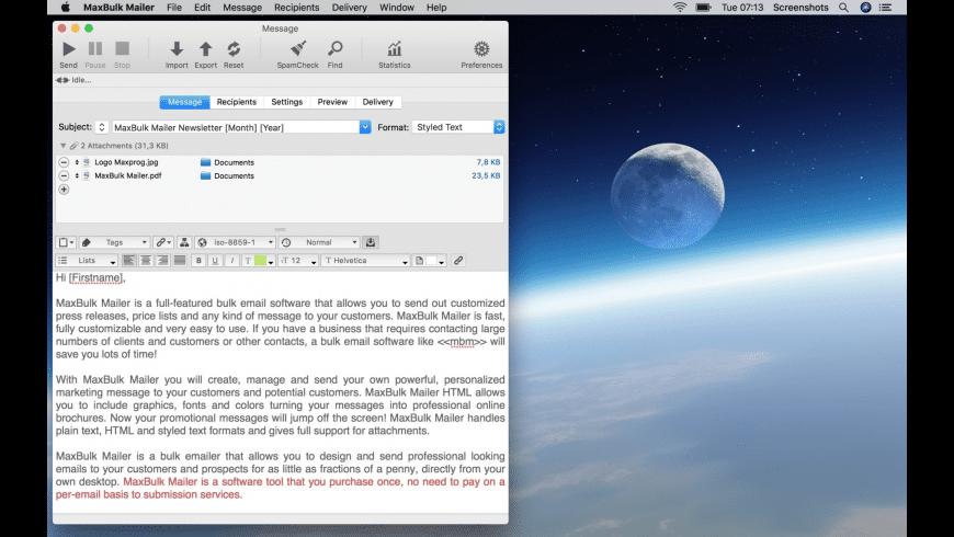 MaxBulk Mailer SE for Mac - review, screenshots
